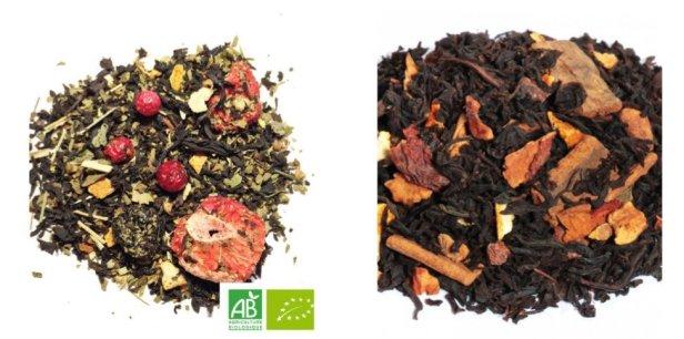 thé noir à la fraise/citron et thé noir gâteau aux pommes