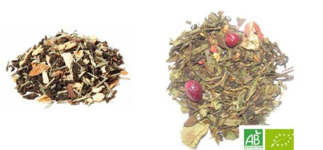 thé Oolong et thé vert à la fraise/canneberge